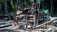 Jamat-Shibir destroyed properties of religious minorities in Koiraj, Khulna, Bangladesh, März 2013; Copyright: Shayantani Twisha