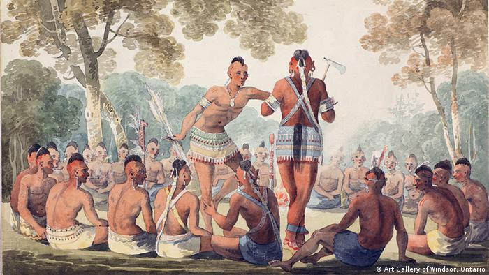 An oil painting of an Iroquoian tribe performing a war dance. © Art Gallery of Windsor, Ontario