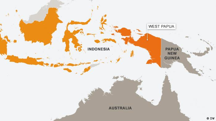 A map of West Papua, also showing, Australia, Indonesia and Papua New Guinea