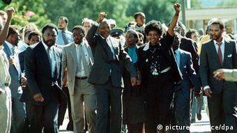 Mandela and his then wife Winnie on his release from prison in 1990