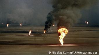 Kuwait oil fields on fire.