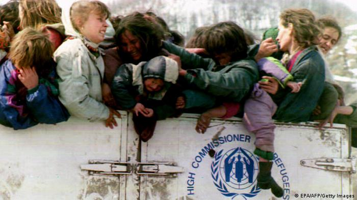 Muslim refugess from the town of Srebrenica as they flee.