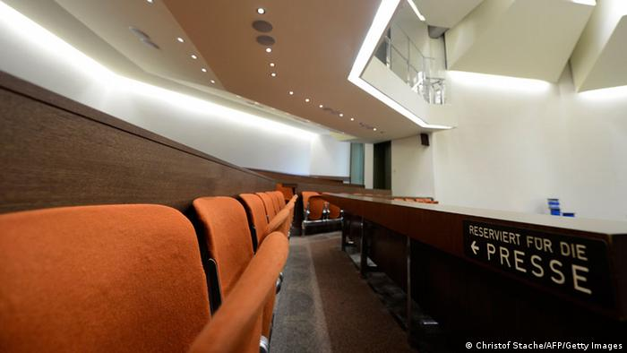 A general view taken on March 15, 2013 shows the courtroom at the Regional Court of Munich, southern Germany, where the trial against the sole survivor of the far-right militants NSU and four other alleged neo-Nazi accomplices will take place as of April 17, 2013. Beate Zschaepe of the NSU is suspected of involvement in 10 murders, including the killing of nine men of Turkish or Greek origin across Germany between 2000 and 2006 and a German policewoman in 2007, as well as 15 armed robberies, arson and attempted murder. AFP PHOTO/CHRISTOF STACHE (Photo credit should read CHRISTOF STACHE/AFP/Getty Images)