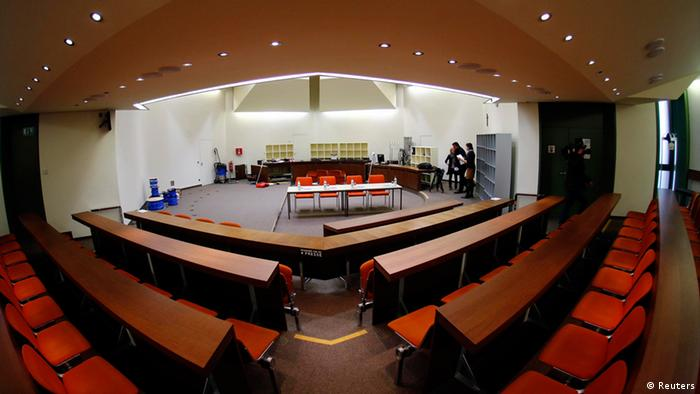 The courtroom where the trial against German Beate Zschaepe a member of the neo-Nazi group National Socialist Underground (NSU) will take place, is pictured in Munich March 15, 2013. An alleged member of the NSU, 38-year-old Zschaepe, will go on trial in Munich in April charged with the murders. The NSU is accused of murdering nine Turkish and Greek immigrants and a policewoman from 2000 to 2007. Two other NSU members committed suicide in late 2011 after a botched bank robbery. It was the discovery of their bodies in a caravan that first brought the connection between the murders over a seven-year period to light. REUTERS/Michael Dalder(GERMANY - Tags: CRIME LAW)