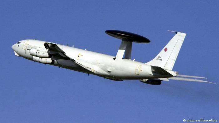 Avión AWACS de observación parte de la base de la OTAN en Geilenkirchen, Alemania.