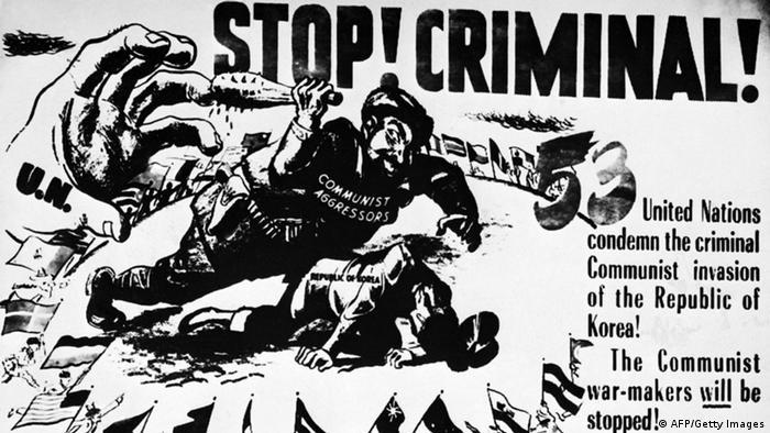 Korea Krieg 1950 Plakat Kriegspropaganda