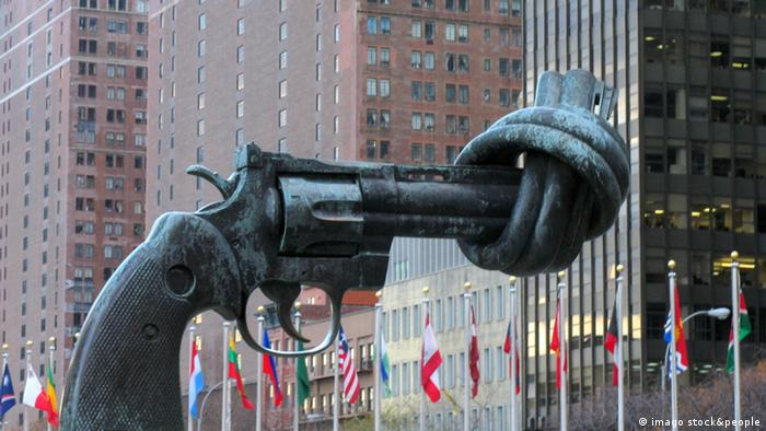 The iconic Non-Violence sculpture (a pistol whose barrel is tied into an impotent knot) outside the UN headquarters in New York.