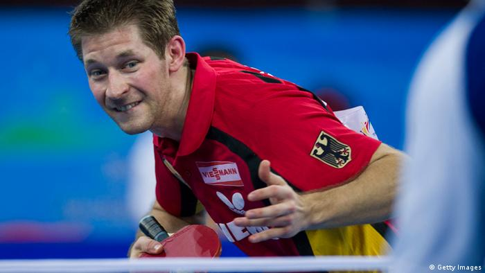 Bastian Steger of Germany serves during his match against Cazuo Matsumoto of Brazil at the World Team Classic Table Tennis game in Guangzhou, east China's Guangdong province on March 28, 2013. CHINA OUT AFP PHOTO (Photo credit should read STR/AFP/Getty Images)