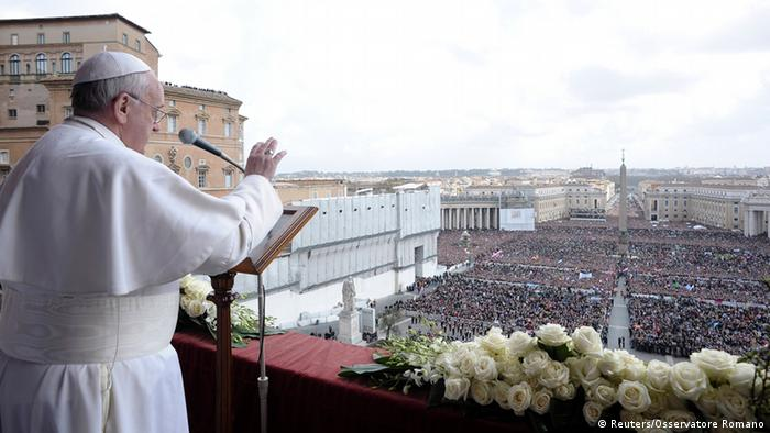Pope Francis speaks during his Urbi et Orbi address REUTERS/Osservatore Romano