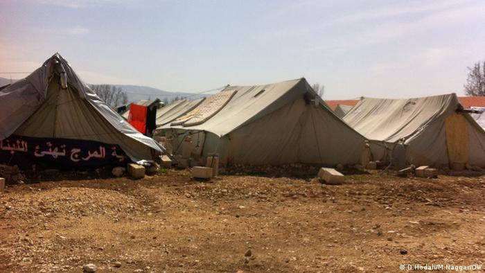 Row of canvas tents at the Marjayoun welcome center