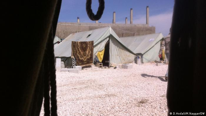 View from within a tent at the Marjayoun welcome center