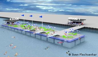 A graphic rendering of a pontoon with people swimming