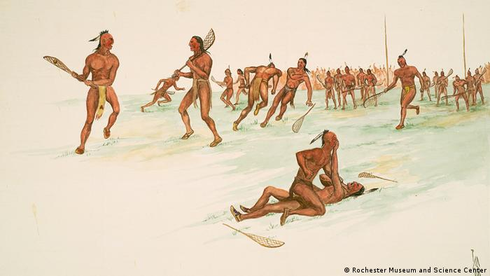 A picture depicting Native American lacross players.