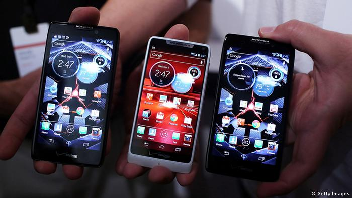 NEW YORK, NY - SEPTEMBER 05: Three new Motorola Razr smartphones are displayed at the launch of the phones which are all under the Razr brand and will become available for Verizon customers on September 5, 2012 in New York City. The new phones, the Droid Razr HD, the Razr M and the Razr Maxx HD, will all use Google's Android operating system. Motorola Mobility was acquired by google in August of 2011. (Photo by Spencer Platt/Getty Images)