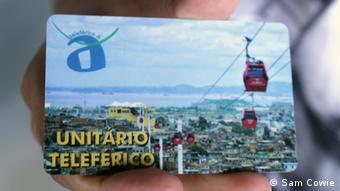 Electronic ticket for Rio's cable car (photo: Sam Cowie)