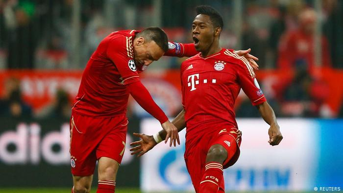 Franck Ribery (L) and David Alaba celebrate Alaba's goal against Juventus during their Champions League quarter-final first leg soccer match in Munich, April 2, 2013. REUTERS/Kai Pfaffenbach (GERMANY - Tags: SPORT SOCCER)