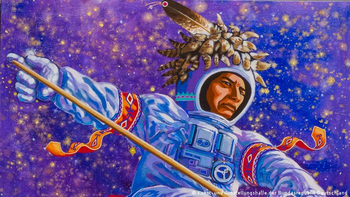 A painting of a Seneca astronuat with a Snow Snake by Carso Waterman.