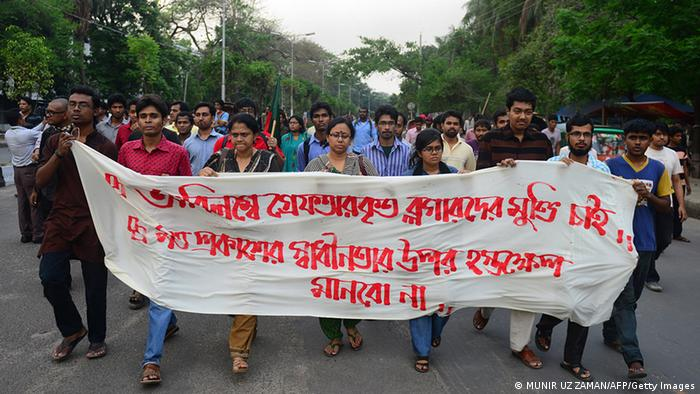 Bangladesh bloggers march in protest against the detention of three bloggers in Dhaka on April 2, 2013. Bangladesh police have arrested three atheist bloggers for allegedly defaming Islam and the Prophet Mohammed, police said, amid demands from religious fundamentalists for an internet crackdown. AFP PHOTO/Munir uz ZAMAN (Photo credit should read MUNIR UZ ZAMAN/AFP/Getty Images)