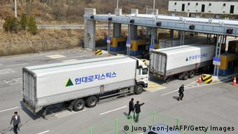 South Korean trucks return back after they were banned access to Kaesong joint industrial park in North Korea, at a military check point of the inter-Korean transit office in Paju on April 3, 2013. (Photo:JUNG YEON-JE/AFP/Getty Images)