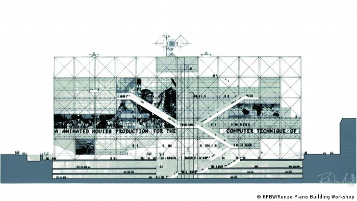 A collage sketch for the Centre Georges Pompidou, Paris made in 1970 by Renzo Piano und Richard Rogers