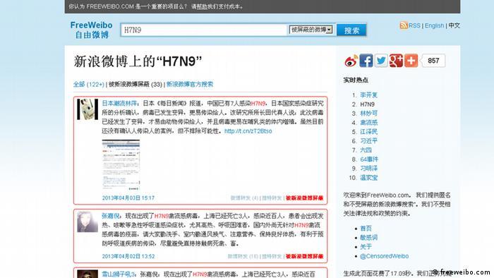 Screenshot Freeweibo Bobs https://freeweibo.com/weibo/H7N9 Quelle: Free Weibo Aufgenommen um 16.20 am 3.4.2013 Zulieferer: Tian Miao