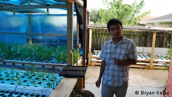 Khai Nguyen in Sang Ho's greenhouse (photo: Bryan Kelso)