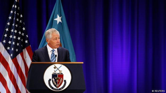 U.S. Secretary of Defense Chuck Hagel gives a speech on fiscal defense spending at Ft. McNair in Washington April 3, 2013. REUTERS/Gary Cameron (UNITED STATES - Tags: MILITARY POLITICS BUSINESS)