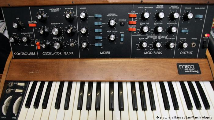 An image showing a Minimoog from the 80s.