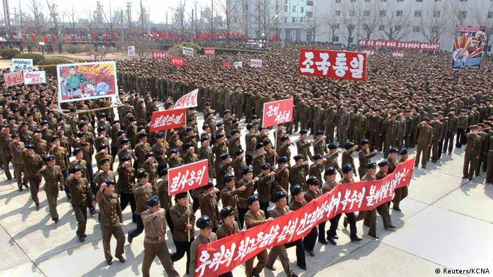 North Koreans attend a rally held to gather their willingness for a victory in a possible war against the United States and South Korea in Nampo, North Korea, April 3, 2013 in this picture released by the North's official KCNA news agency in Pyongyang on Wednesday. Copyright: REUTERS/KCNA