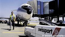 ndated picture shows a Swissport employee near a ramp in front of a fingerdock on Unique Airport, Zurich Kloten, Switzerland. Swissport International, the world's leading aviation service group, a leading European private equity house, have announced the sale of Swissport to the Spanish-based Ferrovial Group. The transaction values Swissport at EUR 646 million (CHF 1,002 billion). Swissport, which is the world's number-one independent passenger and cargo handling operator, serves more than 170 airports in 40 countries, and generates over 90 percent of its revenues in Europe and North America.