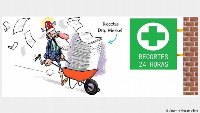 Карикатура Антонио Месамадеро. Медбрат с тележкой рецептов от доктора Меркель спешит в аптеку.
