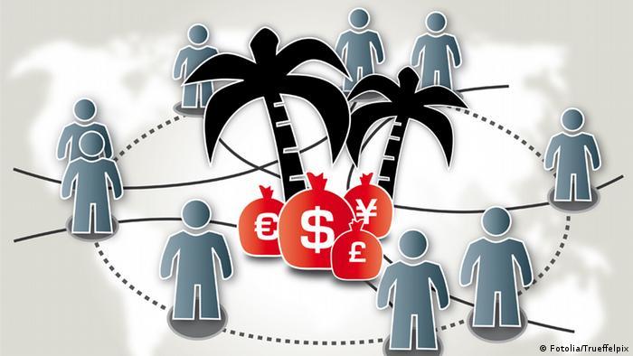 Символ экзотических налогов: пальмы, стилизованные человеческие фигуры и деньги