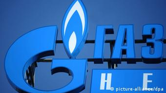 ITAR-TASS: MOSCOW, RUSSIA. SEPTEMBER 20, 2012. The logo of OAO Gazprom. (Photo ITAR-TASS/ Stanislav Krasilnikov)