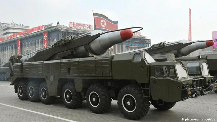 ©Kyodo/MAXPPP - 04/04/2013 ; PYONGYANG, North Korea - File photo shows a weapon believed to be the intermediate-range ballistic missile Musudan at a military parade in Pyongyang in October 2010. (Kyodo)