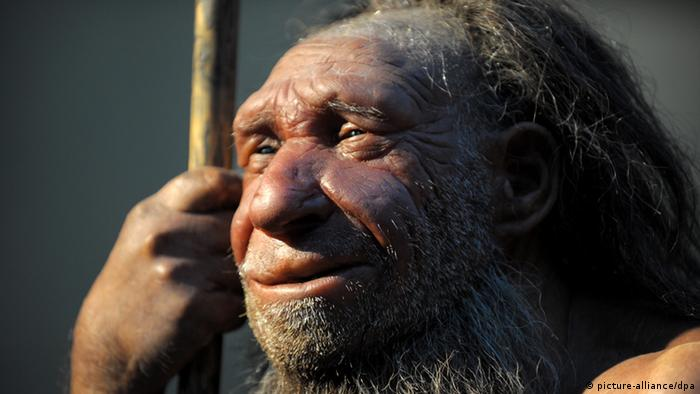 Nachbildung eines Neandertalers (picture-alliance/dpa)
