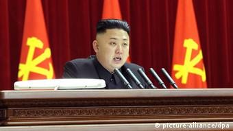 North Korean leader Kim Jong-un speaks during a plenary meeting of the Central Committee of the Workers' Party of Korea in Pyongyang on 31 March 2013. (Photo: dpa)