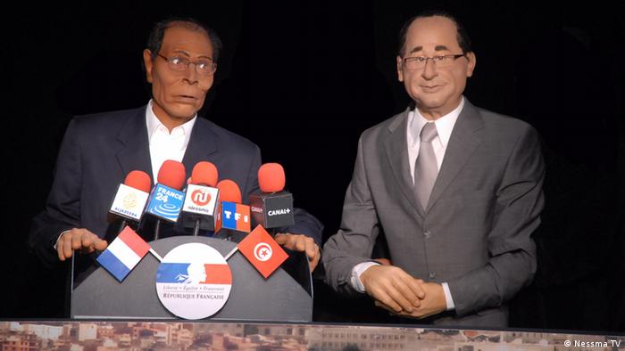 Nessma TV -- Tunesien, Satiresendung *** Marzouki and François Hollande puppets. Tunisia Photo title: Marzouki and François Hollande puppets, Tunisia Place and Date : March, 2013, Tunisia