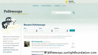 Screenshot of the Sunlight Foundation's Politwoops site Source: http://politwoops.sunlightfoundation.com/