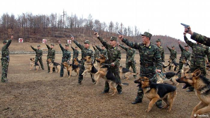 North Korean soldiers with military dogs take part in drills in an unknown location in this picture taken on April 6, 2013 and released by North Korea's official KCNA news agency in Pyongyang on April 7, 2013. REUTERS/KCNA (NORTH KOREA: - Tags: POLITICS MILITARY) ATTENTION EDITORS - THIS PICTURE WAS PROVIDED BY A THIRD PARTY. REUTERS IS UNABLE TO INDEPENDENTLY VERIFY THE AUTHENTICITY, CONTENT, LOCATION OR DATE OF THIS IMAGE. IT IS DISTRIBUTED, EXACTLY AS RECEIVED BY REUTERS, AS A SERVICE TO CLIENTS. FOR EDITORIAL USE ONLY. NOT FOR SALE FOR MARKETING OR ADVERTISING CAMPAIGNS. NO THIRD PARTY SALES. NOT FOR USE BY REUTERS THIRD PARTY DISTRIBUTORS