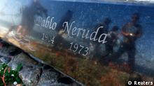 A view of the tombstone of Chilean poet and Nobel laureate Pablo Neruda inside the grounds of his house-museum before the exhumation of his remains in the coastal town of Isla Negra, about 106 km (66 miles) northwest of Santiago April 7, 2013. The body of Neruda, dead nearly four decades, will be exhumed after his former driver declared the poet was poisoned under Augusto Pinochet's dictatorship, according to judge Mario Carroza. Neruda, famed for his passionate love poems and staunch communist views, is presumed to have died from prostate cancer on September 23, 1973. But Manuel Araya, who was Neruda's chauffeur during the sick writer's last few months, says agents of the dictatorship took advantage of his ailment to inject poison into his stomach while he was bedridden at the Santa Maria clinic in Santiago. REUTERS/Eliseo Fernandez (CHILE - Tags: OBITUARY CRIME LAW)