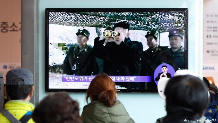 People watch a TV program showing North Korean leader Kim Jong Un at Seoul Railway Station in Seoul, South Korea, Sunday, April 7, 2013. (AP Photo/Ahn Young-joon)