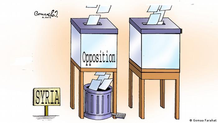 Карикатура Гомаа Фарахата. Бюллетени за оппозицию падают мимо урны для голосований в мусорную корзину.
