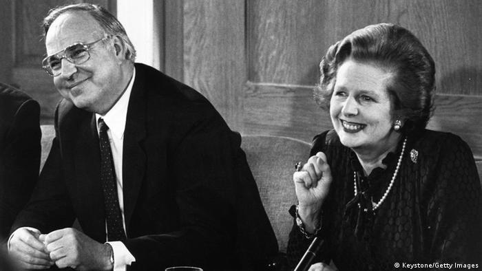 Margaret Thatcher und Helmut Kohl (Foto: Keystone/Getty Images)