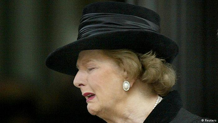 Britain's former Prime Minister Margaret Thatcher shows emotion as she leaves a service of remembrance for her late husband Sir Denis Thatcher who died in June 2003, in London in this October 30, 2003 file photo. Thatcher has died following a stroke, a spokesman for the family said. REUTERS/Toby Melville/Files (BRITAIN - POLITICS OBITUARY)