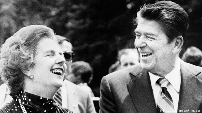 FILE - U.S. President Ronald Reagan, right, and Britain's Prime Minister Margaret Thatcher share a laugh . (AP Photo/File)