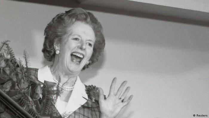 Britain's Prime Minister Margaret Thatcher gives a jubilant wave from the stairs inside her Conservative party headquarters in London early in this June 12, 1987 file photo, after sweeping back to power for a third consecutive term of office after the general election. Former British Prime Minister Thatcher has died following a stroke, a spokesman for the family said. REUTERS/John Eggitt/Files (BRITAIN - Tags: POLITICS OBITUARY)