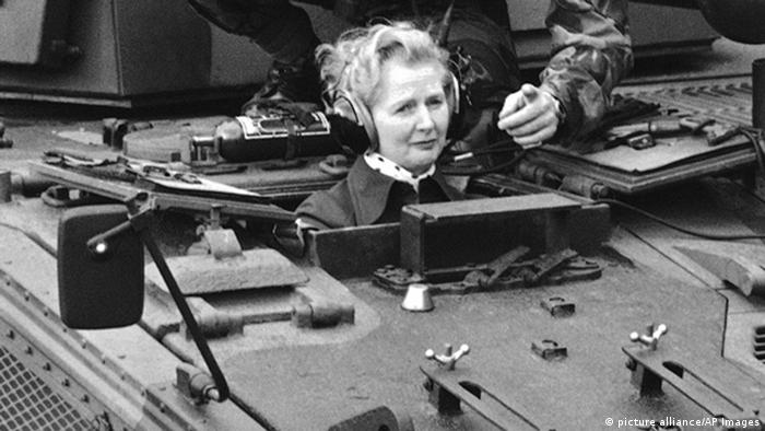 British opposition leader Margaret Thatcher visited the British Rhine Army at Herford and Guetersloh on Jan. 23, 1976. (Photo: AP Photo/Heinz Ducklau)