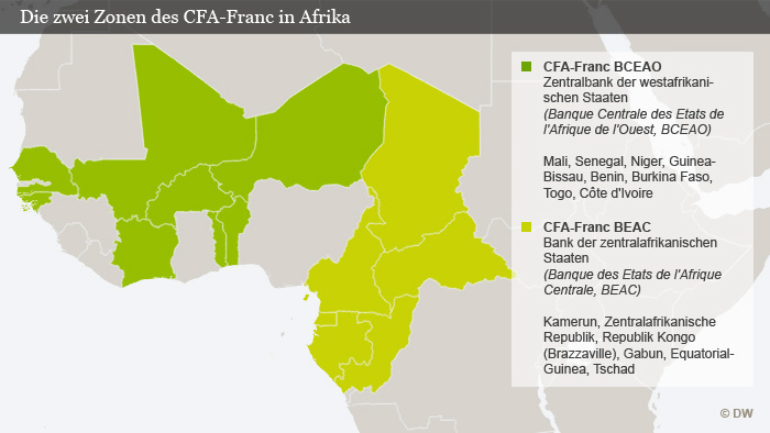 Infografik Die zwei Zonen des CFA Franc in Afrika