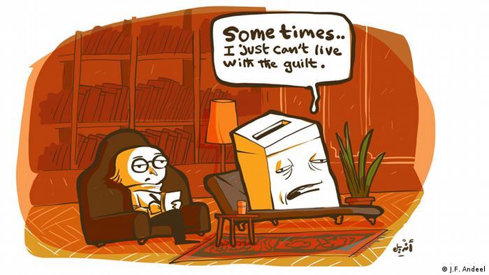 Карикатура Андила. Урна для голосований на приеме у психотерапевта жалуется на комплекс вины.