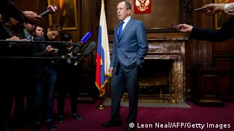 Russian Foreign Minister Segei Lavrov speaks to members of the media LEON NEAL/AFP/Getty Images)